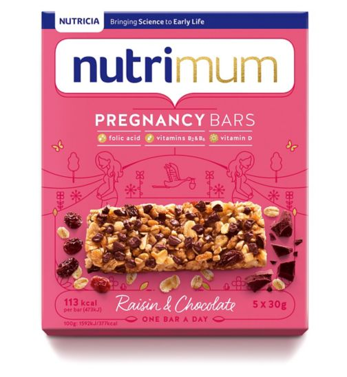 nutrimum Pregnancy Raisin & Chocolate Cereal Bars 5 x 30g (150g)