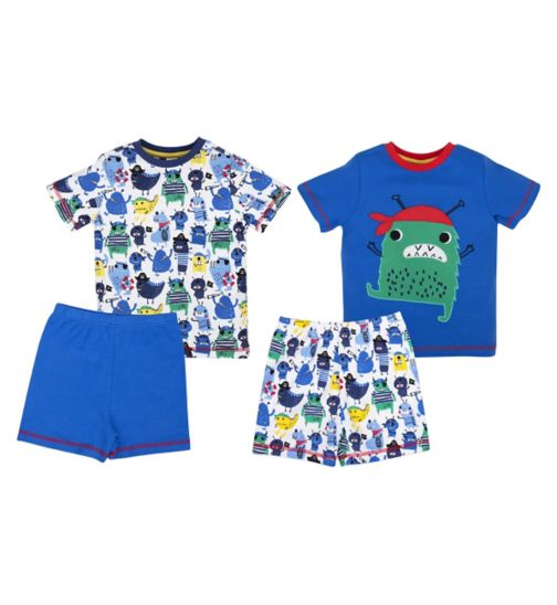 Mini Club Boys Short Pyjamas Monster 2 Pack