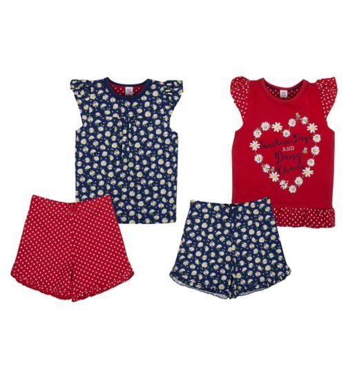 Mini Club Girls Short Pyjamas Daisy 2 Pack