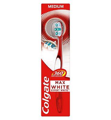 Colgate 360 Advanced Max White Medium Toothbrush, Cheek & Tongue Cleaner