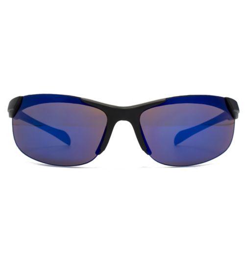 Monkey Monkey Mirrored Black Sports Wrap Kids Sunglasses