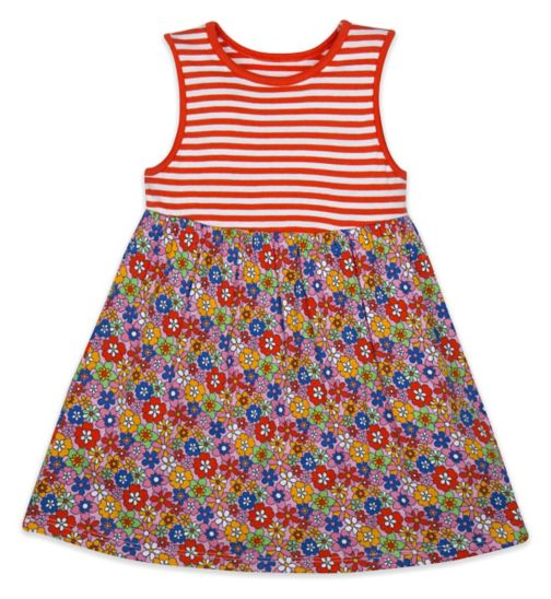 Mini Club Girls Sleeveless Dress Floral and Stripe