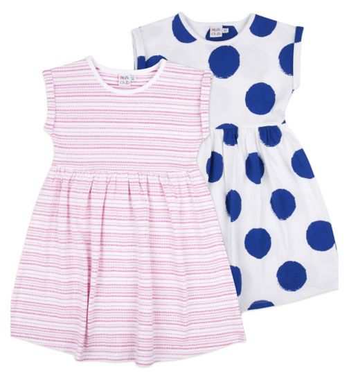 Mini Club Girls Dress Spot and Stripe 2 Pack