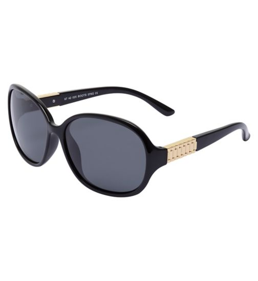 Boots Polarised Womens Black Sunglasses with Gold Temple