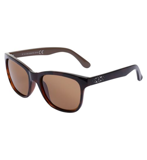 Boots Polarised Womens Brown Sunglasses with Bling Temple