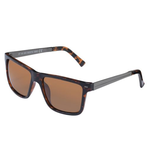 Boots Mens Polarised Sunglasses Brown Rectangle Gunmetal