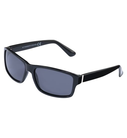 Boots Polarised Mens Black Sunglasses with Silver Temples
