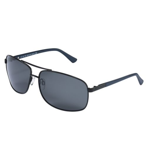 Boots Mens Polarised Sunglasses Matt Black Brow Navy Arms