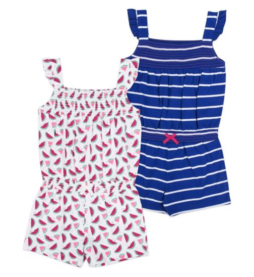 Mini Club Girls Sleeveless Playsuit 2 Pack