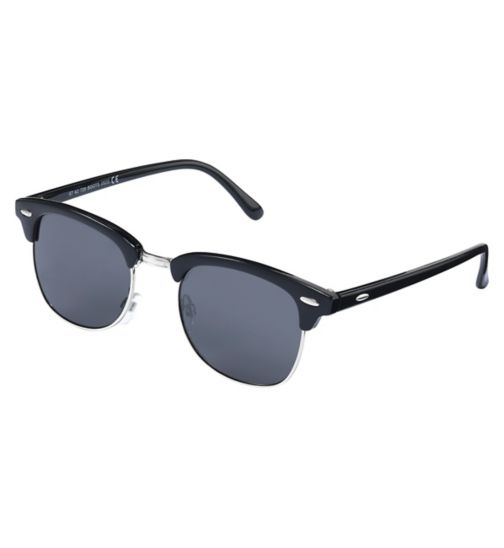 Boots Mens Black and Silver Clubmaster Sunglasses