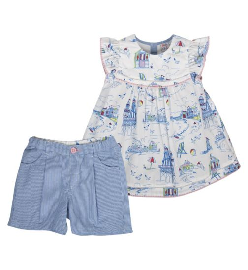 Mini Club Girls Top and Short Set Seaside