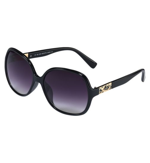 Boots Womens Black Sunglasses with Gold and Enamel Detail