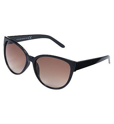 Boots Ladies Sunglasses Black Cateye Brown Grad