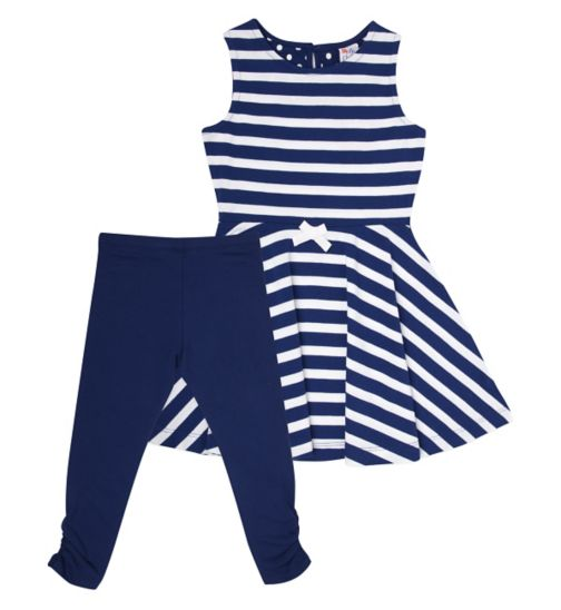 Mini Club Girls Dress and Legging Set Navy Stripe