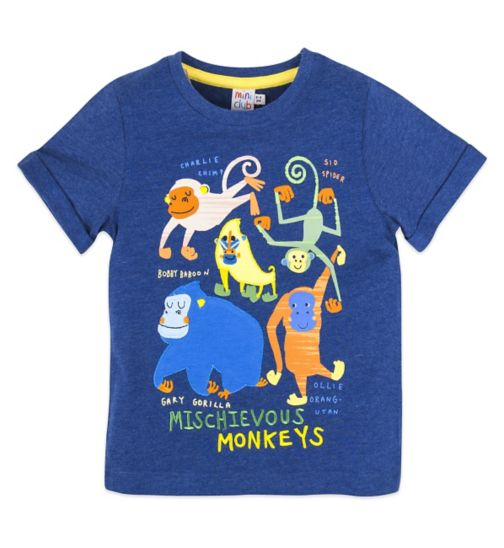 Mini Club Short Sleeve Top Blue Monkey