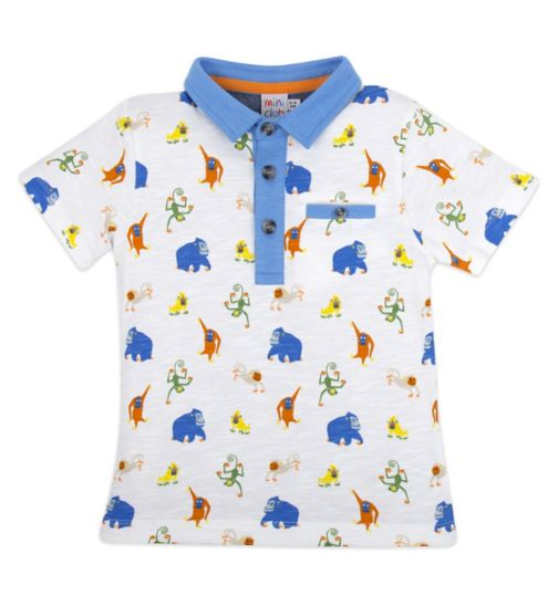 Mini Club Polo Top White Monkey
