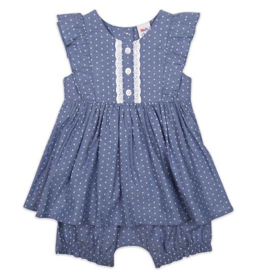Mini Club Baby Girls Romper Dress Chambray