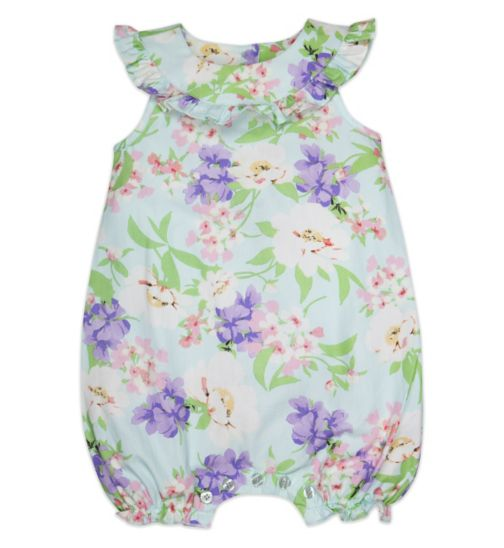 Mini Club Baby Girls Sleeveless Romper Blue Floral