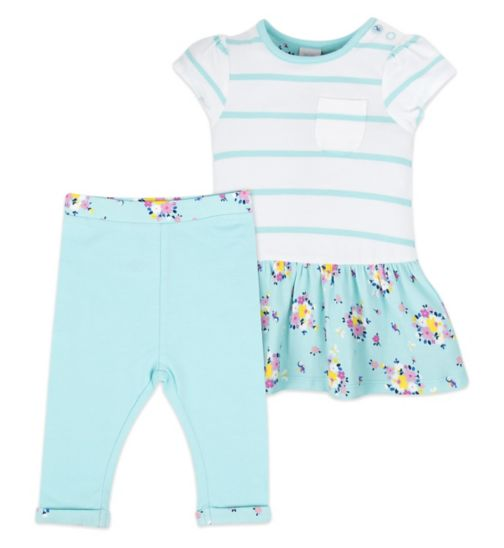 Mini Club Baby Dress and Legging Set Blue Floral