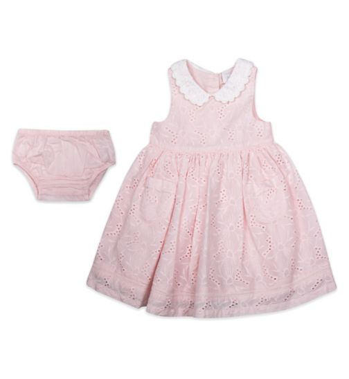 Mini Club Baby Girls Sleeveless Dress Pink Broidery