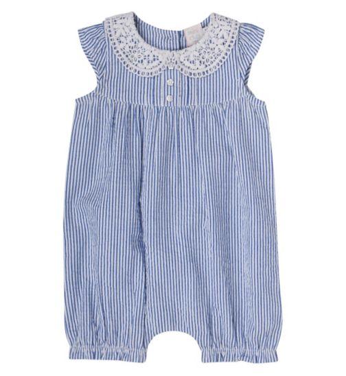 Mini Club Baby Girls Sleeveless Striped Romper Blue