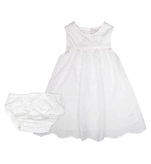 Mini Club Baby Girls Broidery Dress White