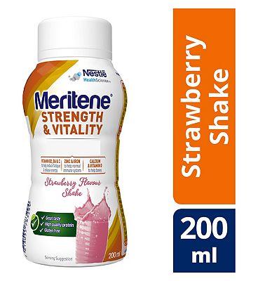 Meritene Strength and Strawberry Ready to Drink Shake, 200ml Bottle