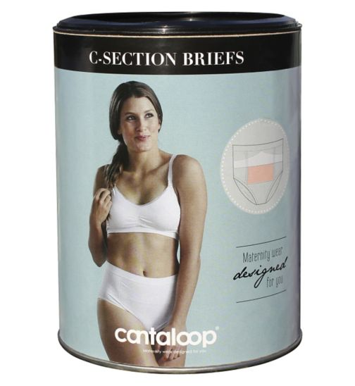 Cantaloop C-Section Briefs, Black & White Twin Pack Large