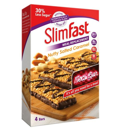 SlimFast Meal Replacement Nutty Salted Caramel Meal Bar 4 x 60g