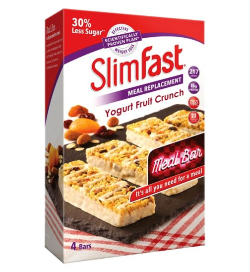 SlimFast Meal Replacement Yogurt Fruit Crunch Meal Bar 4 x 60g (240g)