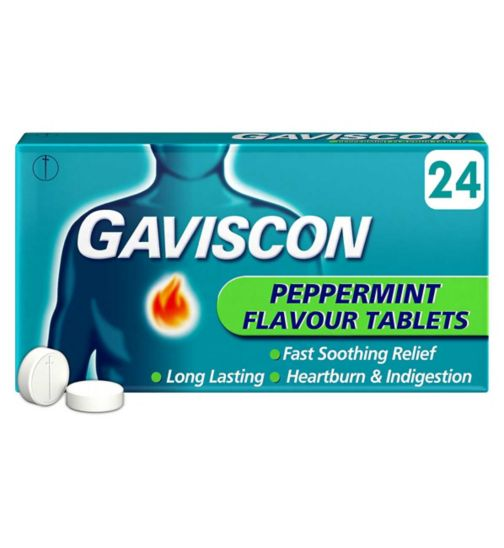 Gaviscon Peppermint Flavour Tablets - 24 Peppermint Tablets