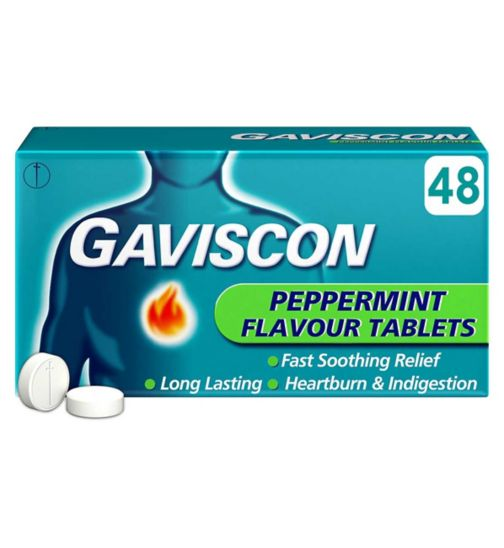 Gaviscon Peppermint Flavour Tablets - 48 Tablets