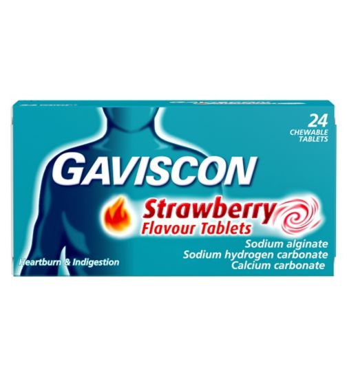 Gaviscon Strawberry Flavour Tablets - 24 Tablets