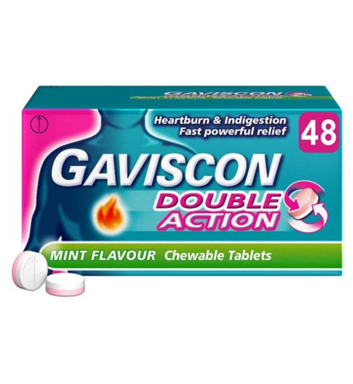 Gaviscon Double Action Peppermint Flavour Tablets - 48 Tablets