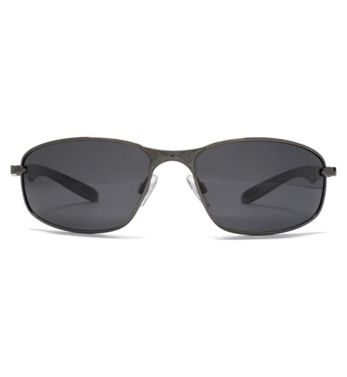 Freedom Mens Polarised Sunglasses Dark Gunmetal Oval