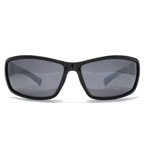 Freedom Mens Sunglasses Rubber Trim Wrap Black 26FRG145389