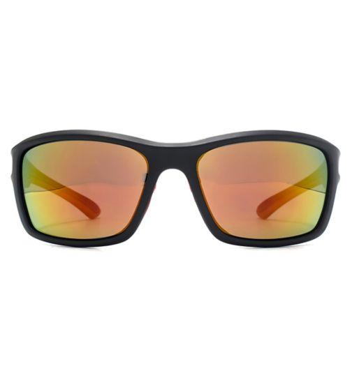 Freedom Mens Sunglasses Rubber Detail Square Wrap 26FRG145410