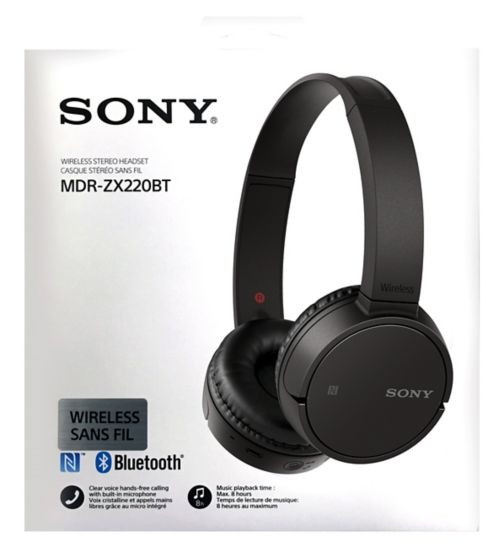 Sony Bluetooth NFC folding headphones black
