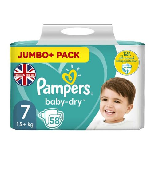 Pampers Baby-Dry Size 7, 58 Nappies, 17+kg, With 3 Absorbing Channels