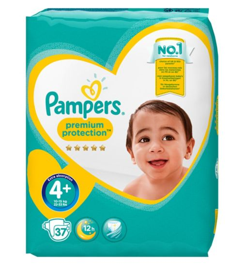 Pampers szie 4+ Premium Protection nappies 10kg-15kg 37s