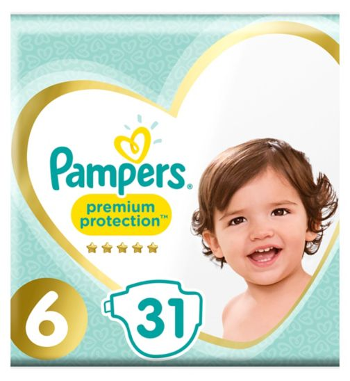 Pampers size 6 Premium Protection nappies 15+kg 31s