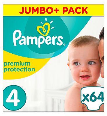 size 4 Premium Protection nappies size 4 jumbo+ 9-14kg 64s