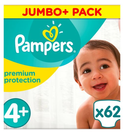 Pampers size 4+ Premium Protection nappies jumbo+ 10kg-15kg 62s