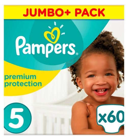 Pampers size 5 Premium Protection nappies jumbo+ 11kg-16kg 60s