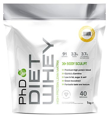PhD Diet Whey Protein Powder - Vanilla Crme (1kg)