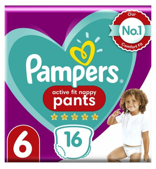 Pampers Premium Active Fit Nappy Pants, Size 6, 15+Kg, 16 Nappies