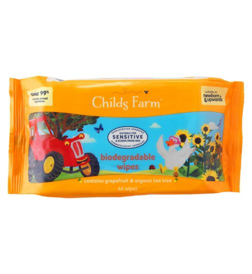 Childs Farm Sensitive Biodegradable Baby Wipes 64s