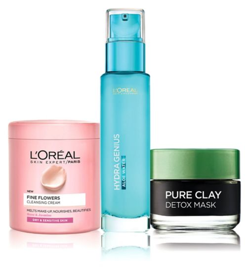 L'Oreal  Hydra genius waters dry/sens;L'Oreal P Fine Flowers cream  dry sens s;L'Oreal Paris Fine Flowers Cleansing Cream Make-Up Remover 200ml;L'Oreal Paris Hydra Genius Liquid Care Sensitive Skin 70ml;L'Oreal Paris Pure Clay Detox Mask 50ml;L'Oreal Paris Sensitive Skin 3 Step Prep Kit - Cleanse Detox Hydrate;L'Oreal Paris pure clay mask detox 50ml