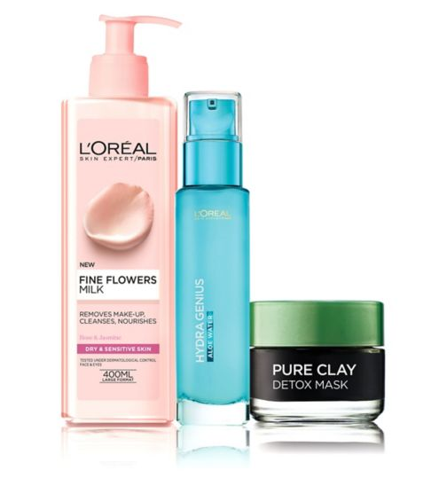 L'Oreal P Hydragenius water   norm dry s;L'Oreal Paris Dry Skin 3 Step Prep Kit - Cleanse Detox Hydrate;L'Oreal Paris Fine Flowers Cleansing Milk Dry to Sensitive Skin 400ml;L'Oreal Paris Hydra Genius Liquid Care Normal Dry Skin 70ml;L'Oreal Paris Pure Clay Detox Mask 50ml;L'Oreal Paris pure clay mask detox 50ml;LP FIN FLWR CLNS MLK 400ml