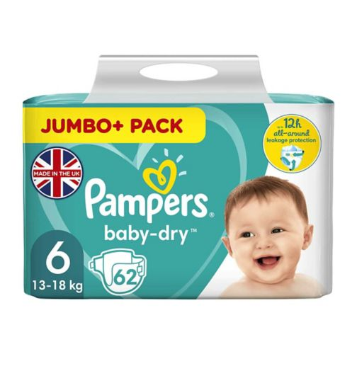 Pampers Baby-Dry Size 6, 62 Nappies, 15+Kg, With 3 Absorbing Channels